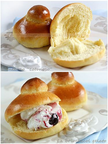 BRIOCHE COL TUPPO (Sicilia) can be eaten for breakfast, simple or stuffed with ice-cream like in this picture or to accompany the classic Sicilian granita #sweets