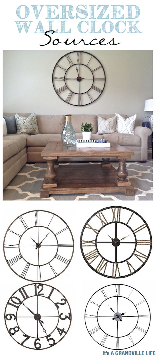 It's A Grandville Life sources for oversized wall clocks. Perfect art pieces for any room in the house.