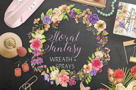 Watercolor wreath of mixed florals by Lolly's Lane Shoppe on @creativemarket