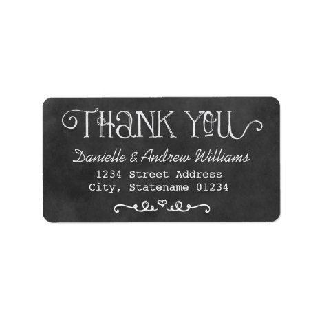 thank you return address labels black chalkboard