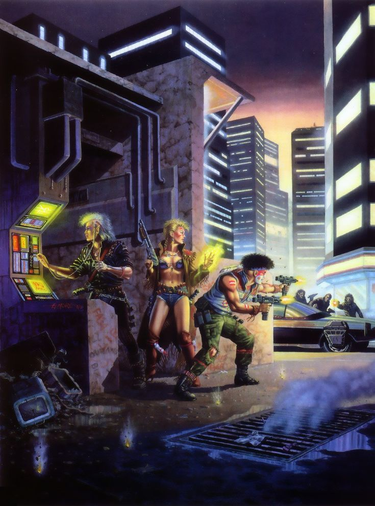 This cover art for the Sega Genesis version of Shadowrun shows us some runners mid-mission, where the combat oriented characters fight to protect the group's decker. The 80's origin of cyberpunk art is clear here.