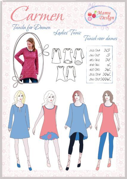 CARMEN Mehrgrößen- Schnittmuster Tunika, Kleid für Damen