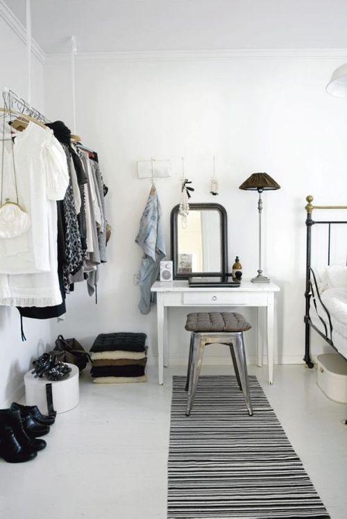 cute vanity & clothing rack