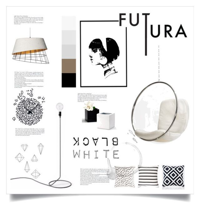 black and white by levai-magdolna on Polyvore featuring interior, interiors, interior design, home, home decor, interior decorating, Design House Stockholm, Umbra, Surya and Behance