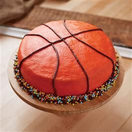 All-Star Basketball Cake. Texture comes from 'patting' with a paper towel... interesting!