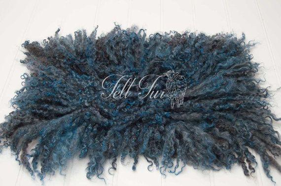 Blue felt fur newborn wool prop curly felt prop curly by FeltFur