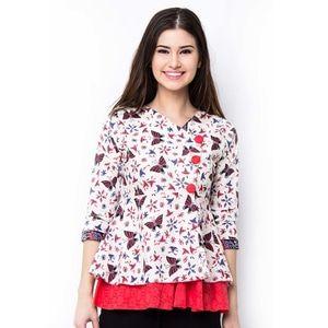 Batik Trusmi Blus Cap Jumbo Motif Kupu-Kupu Merah Dasar Putih
