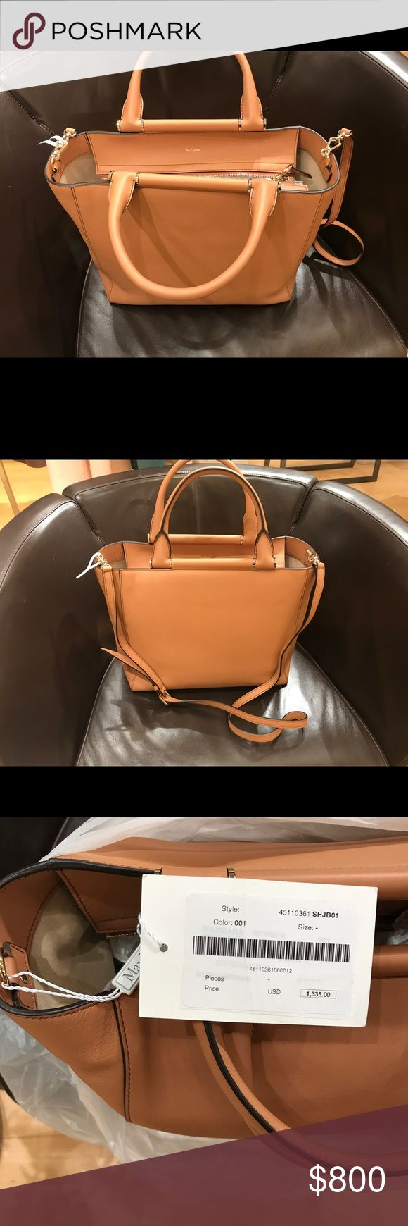 Max Mara Large Size Leather Bag Gorgeous, tan leather, large size bag. Includes strap and dust bag. Brand new with tags. MaxMara Bags Satchels