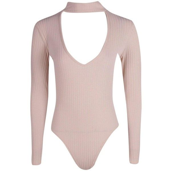 Boohoo Maisie Cut Out Choker Neck Rib Knit Bodysuit (26 CAD) ❤ liked on Polyvore featuring bodysuits
