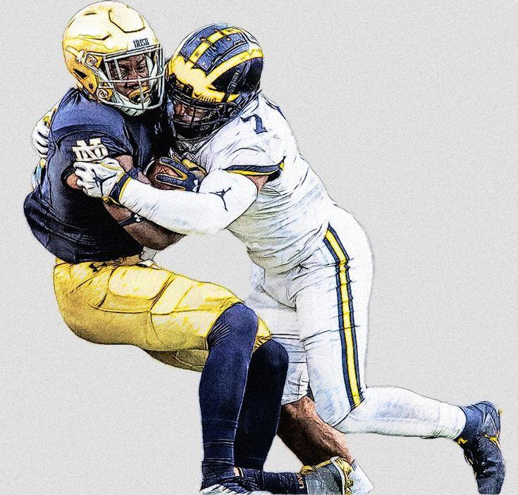 Michigan LB Khaleke Hudson | Football illustration ...
