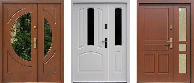 Przykładowe Klasyczne modele drewnianych dwuskrzydłowych drzwi zewnętrznych