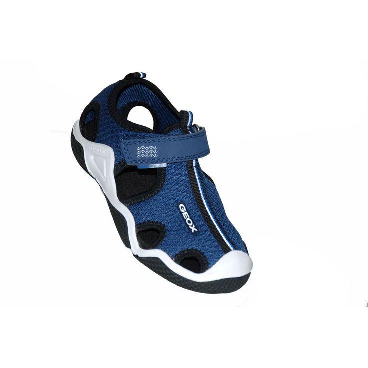 Πέδιλο υφασμάτινο σε μπλε ή μπλε ρουά, αυτοκόλλητο κούμπωμα, GEOX