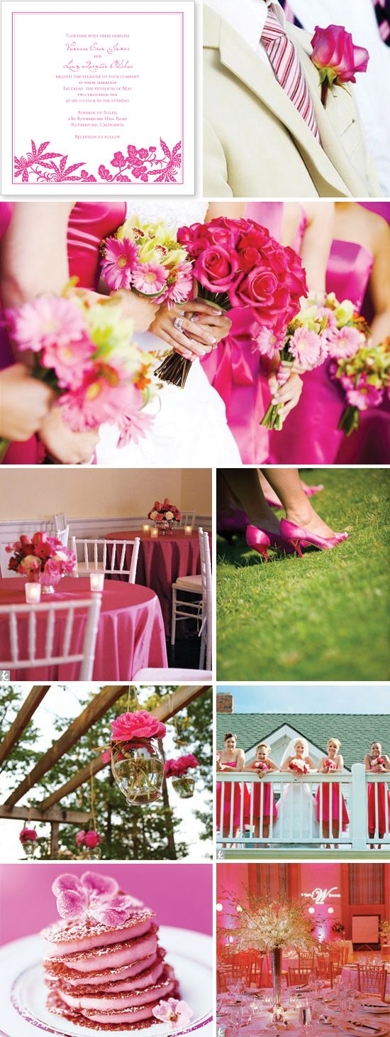 hot pink wedding: Pink Wedding Theme, Hotpink, Flowers Dresses, Wedding Colors Schemes, Hot Pink Wedding, Pink Wedding Colors, Pink Weddings, Coral Wedding, Bridesmaid Bouquets