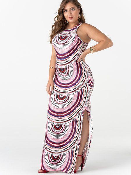 a08cdb3cc80 Plus Size Stripe Cut Out Sleeveless Split Maxi Dress  yoins  fashion