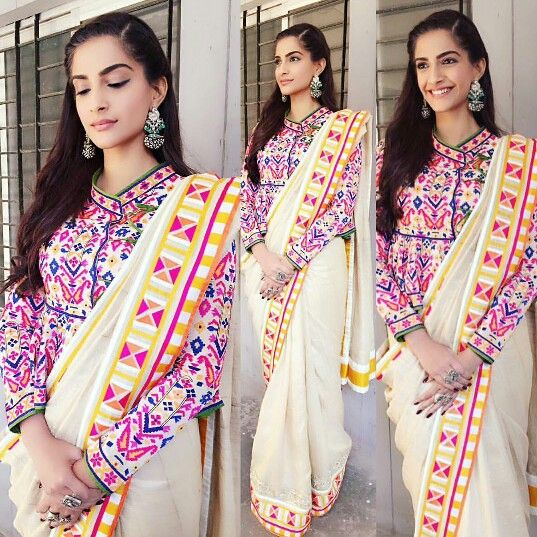 Sonam Kapoor wearing Pink and white saree by Abu Jaani and Sandeep Khosla on Republic day for her movie Neerja Promtions