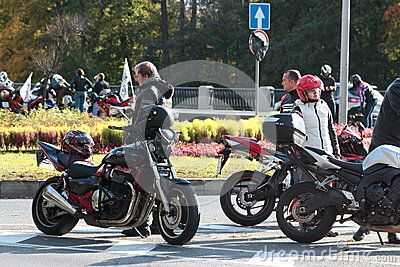 Participants motorcycle run, timed to coincide with the end of the biker season at the stopping point. Primorskiy Prospect. Saint-Petersburg, Russia