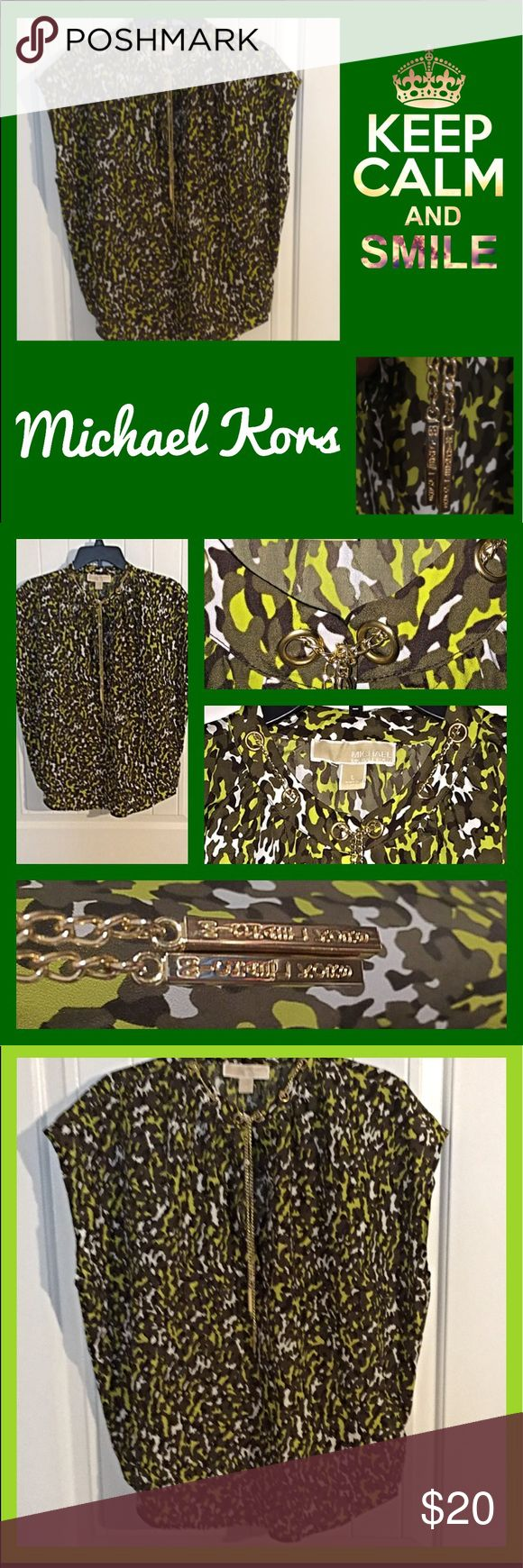 EUC Michael Kors Camo Print Chain Link Collar This beautiful top is so trendy with camouflage print and Michael Kors signature gold chain wrapping thur neckline grommets into a necklace. KORS Michael Kors Tops