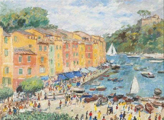 Michele Cascella - Summer Begins in Portofino, oil...