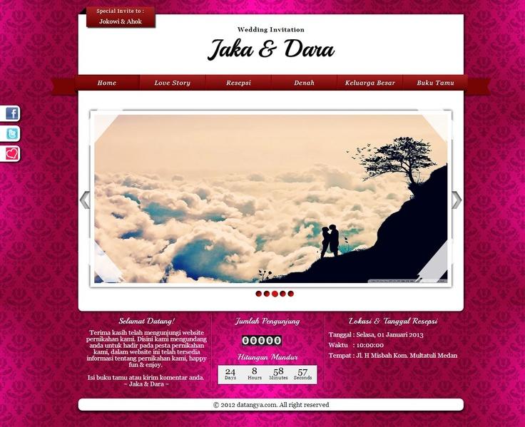 Template undangan pernikahan online tema Fresh Pink