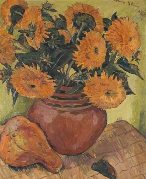 Still life with chrysanthemums and a pumpkin By Irma Stern 1937