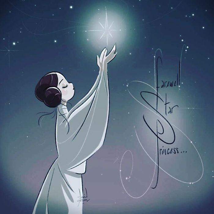 Carrie Fisher ilustraciones Princesa Leia 16