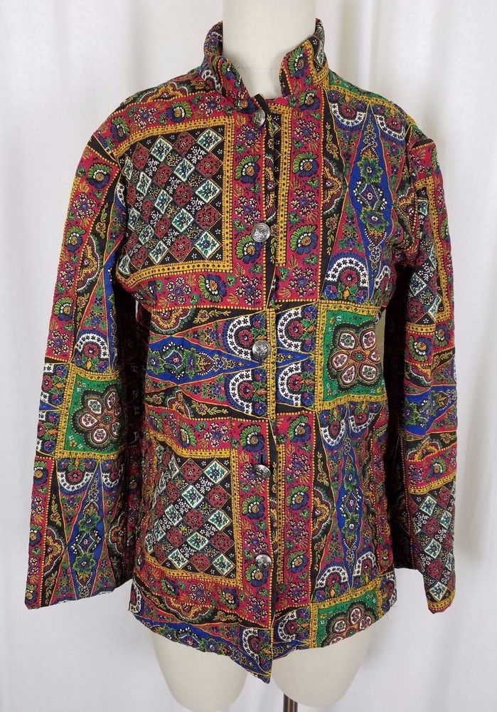 Vintage Handmade Quilted Patchwork 60s 70s Hippie Hippy Boho Jacket Womens M L #Handmade #Casual