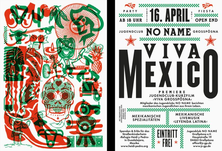 Viva Mexico Flyer by Lamm & Kirch #print #design #futura                                                                                                                                                                                 More