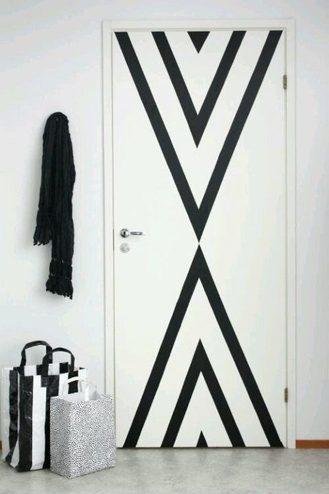 Washi tape on doors or walls. Easy on and easy off. Great for rentals.