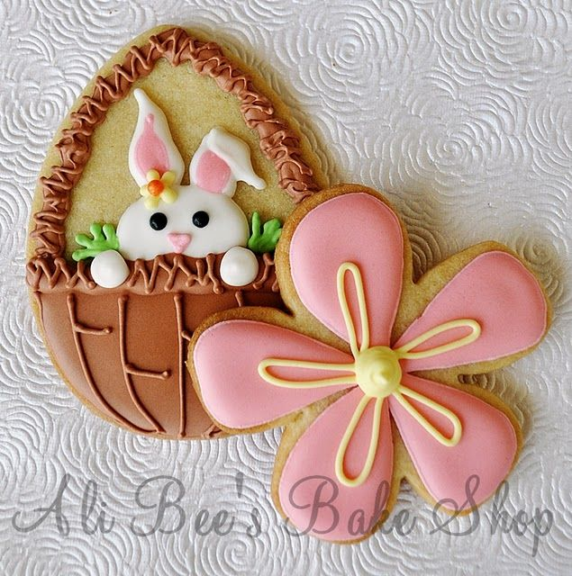 Make these big on a stick...for display and sell item.  They can also be made out of fondant for cupcake toppers. Easter cookies