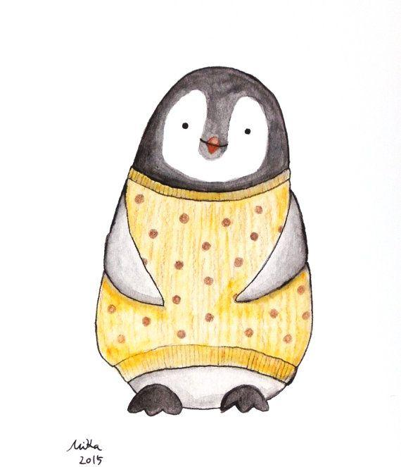 Nursery Decor Penguin Illustration Print Black & White by mikaart…