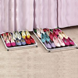 Shoes.  A girl can never have enough of them.  But storing them can be a nightmare.  Just add rollers to the bottom of a plastic rack and store them under the bed.