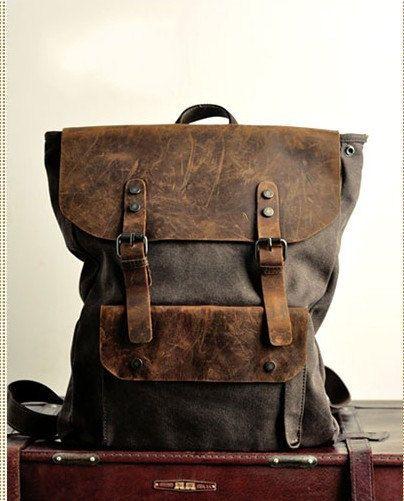 Backpack/ vintage backpack/messenger bag/ art retro canvas bag/leather leisure bag/canvas bag/travelling bag/canvas backpack
