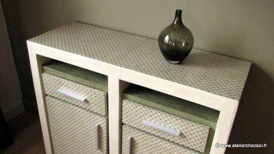 Nouveau patron de meuble en carton le buffet hoxane - Meuble en papier mache ...