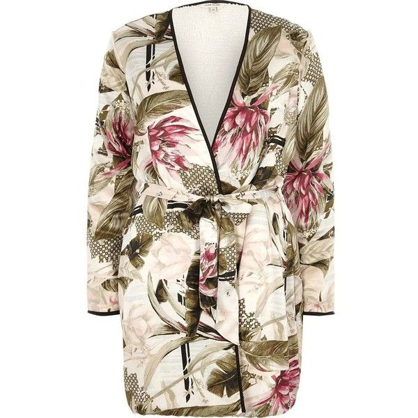 River Island Cream tropical print fleece lined tie robe ($30) ❤ liked on Polyvore featuring cream, nightwear & slippers, sale, women and river island