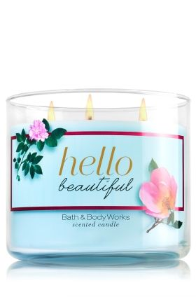 "Hello Beautiful - 3-Wick Candle - Bath & Body Works - The Perfect 3-Wick Candle! Made using the highest concentration of fragrance oils, an exclusive blend of vegetable wax and wicks that won't burn out, our candles melt consistently & evenly, radiating enough fragrance to fill an entire room. Topped with a flame-extinguishing lid! Burns approximately 25 - 45 hours and measures 4"" wide x 3 1/2"" tall."