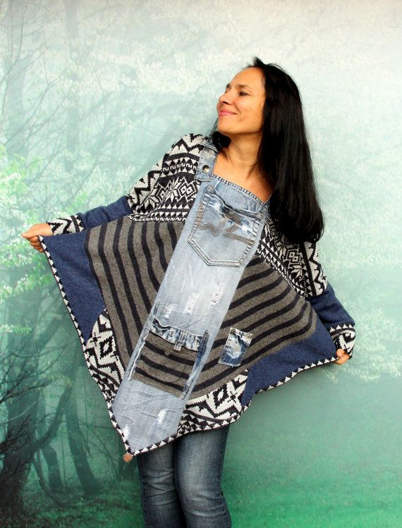 M-XL Crazy denim and sweaters patchwork poncho recycled hippie boho style