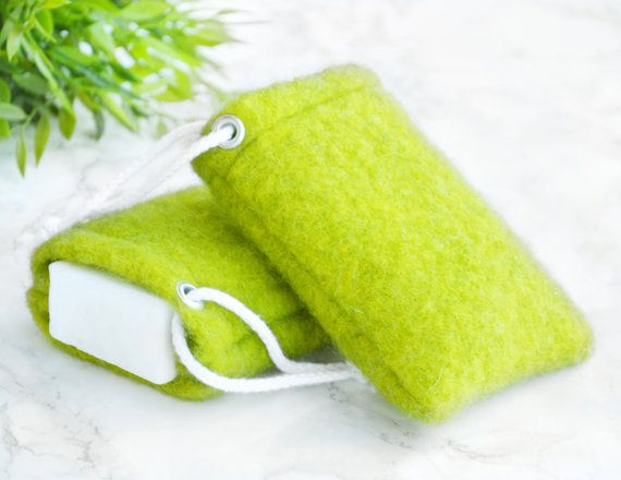 Washcloth Soap Pouch - Lime Green Modern Bathroom - Colorful Modern - Soap Saver For Soap Scraps - Exfoliating Soap - Luxury Soap