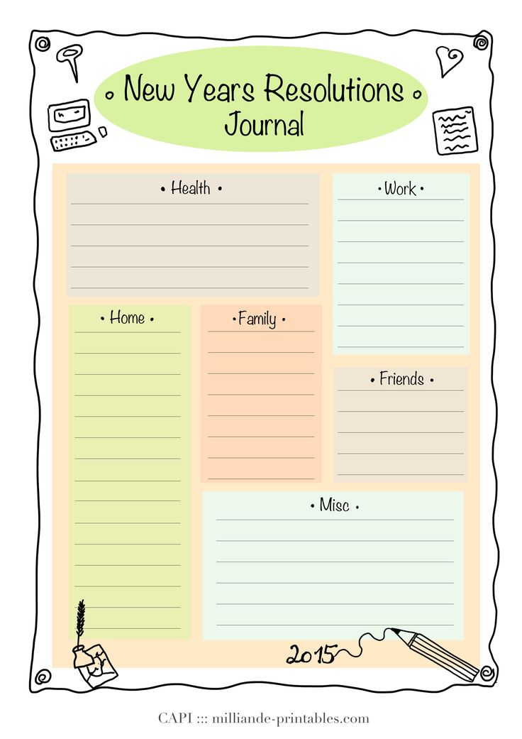 Resolution New Year Printable 2015 Day Planner Template for the beginning of the New Year