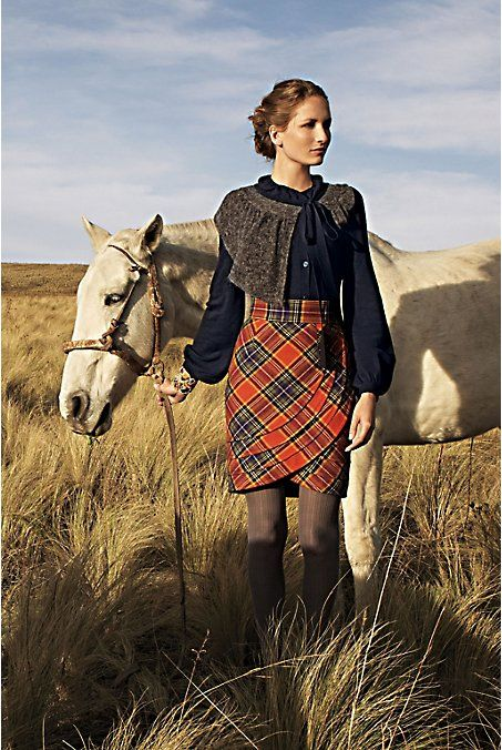 Really like the bias, curved edge to the tartan... could be done longer for Beth, perhaps with a bit of tulle underskirt peeking out? Maybe layered lace...