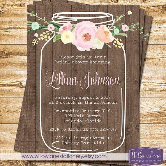 Watercolor Flowers Mason Jar Bridal Shower Invitation Wood Plank Wedding Shower  Rustic Barn