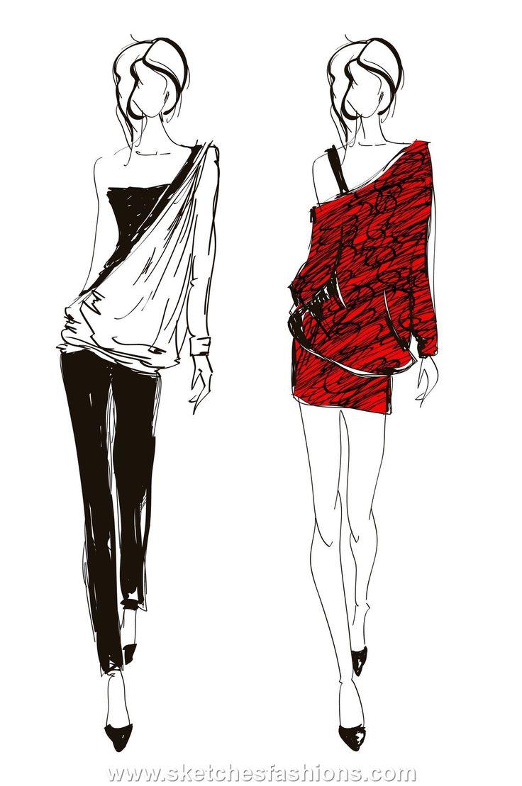 Tight Pants And Mini Skirts Fashion Sketch