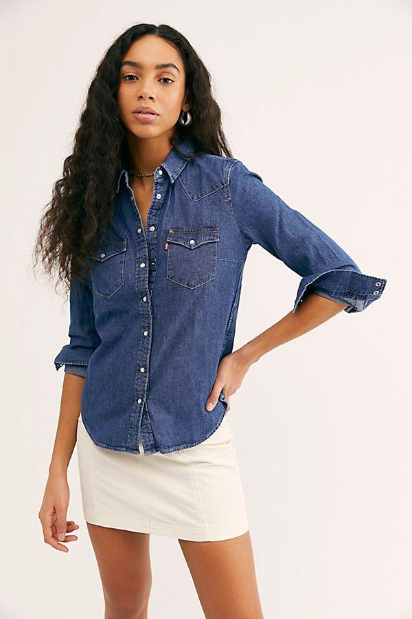 f9777e811a2 Levi s Ultimate Western Shirt - Dark Wash Denim Buttondown Shirt - Denim  Shirting - Wrangler Denim Shirts - Classic Denim Button Up - Dark Denim Top