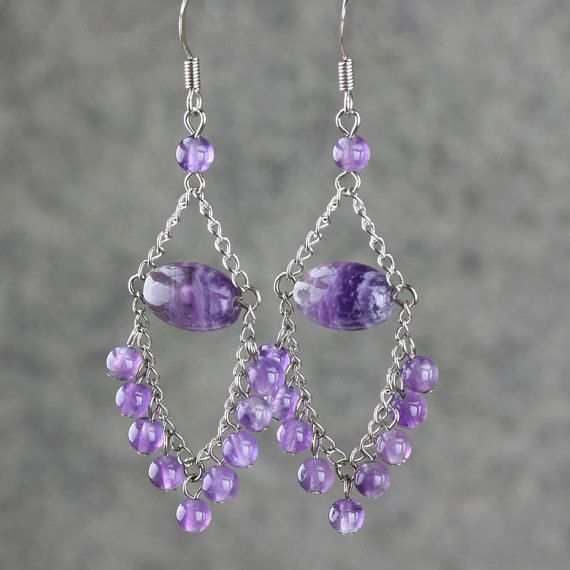 Amethyst dangling chandelier Earrings handmade by AnniDesignsllc, $15.95