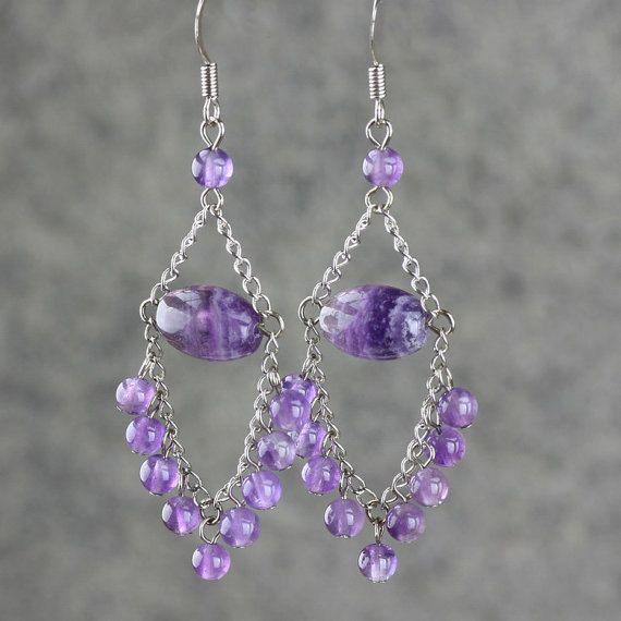 Amethyst dangling chandelier Earrings handmade by AnniDesignsllc, $15.95