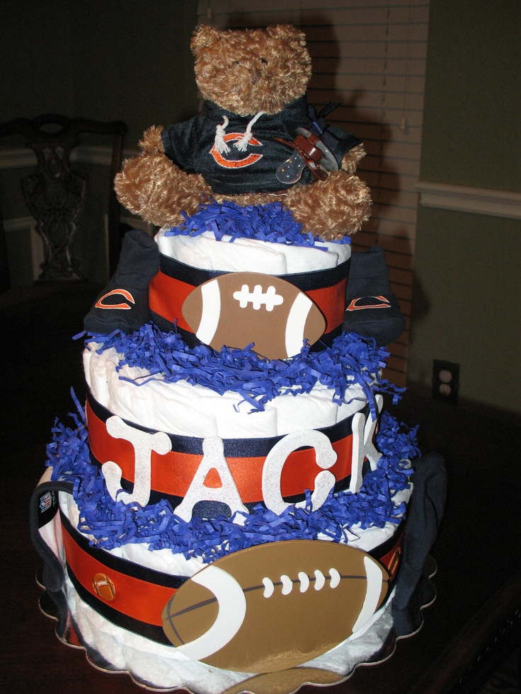 Baby Shower Cakes In Chicago ~ Chicago bears football diaper cake by lilybug creations