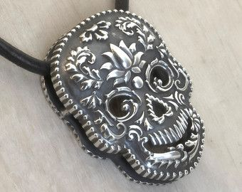 Browse unique items from KermeleJewellery on Etsy,Sterling Silver Skull Sugar Skull Necklace Skull Pendant Skull Locket Skull Jewelry Skull Sharm 22,00 US$