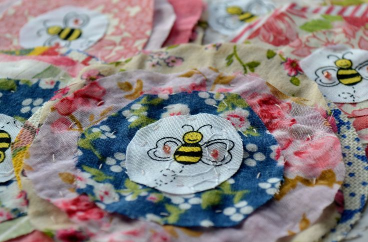 Busy Bee scrappy Fabric Flowers - Made from old floral dresses -  Upcycled - Handmade - by Raspberrytreats on Etsy