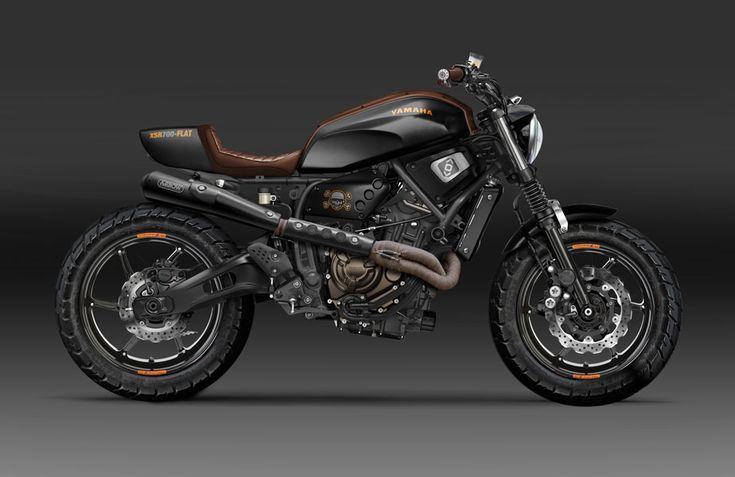 Transformation du XSR700 de Yamaha en version plus musclée, avec coque arrière modifiée, Jantes Magnésium OZ Racing et ligne d'échappement Arrow. #artwork #design #kustomeka