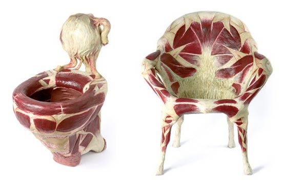 artist simone racheli creates rather curious pieces of work. his art recreates common consumer products to look like they are made of meat.