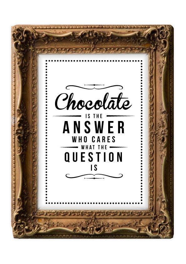 Retro Inspirational Quote Giclee Art Print - Vintage Typography Decor - Customize - Chocolate Answer UK.